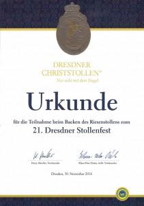Urkunde 21. Dresdner Stollenfest