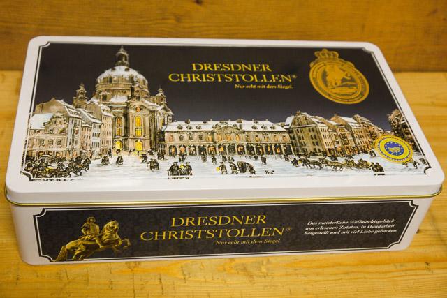 Dresdner Christstollen in der Blechdose