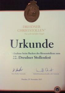Urkunde des 22. Dresdner Stollenfestes